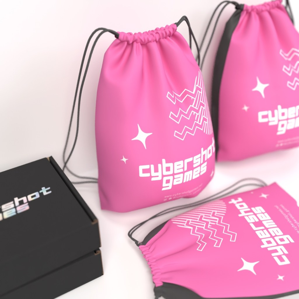 pp non-woven bright pink one colour logo printed drawstring bag leaning against wall