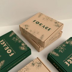 brown Kraft mailer boxes with one colour design in dark green - two design options shown