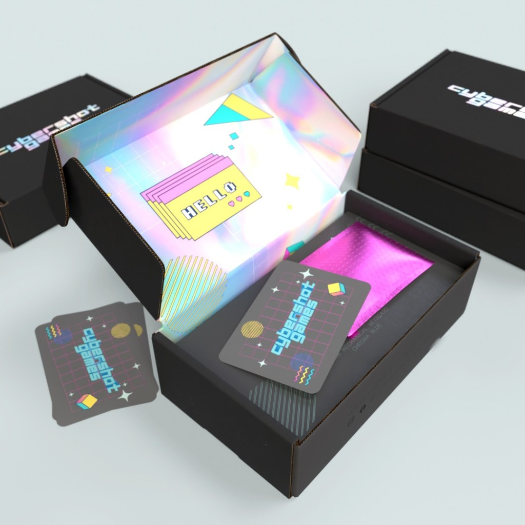 matte black mailer box for Cybershot, an e-commerce brand with holographic detailing