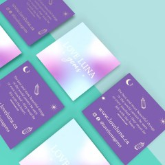 square full colour print business cards with a special note to clients and social media information