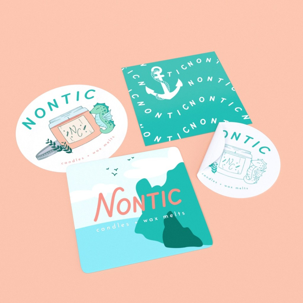 selection of sticker sin circlular and square shapes for brand, Nontic