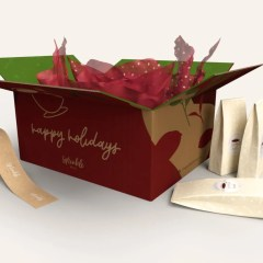 brown Kraft corrugated material with a multicolour print and additional interior design