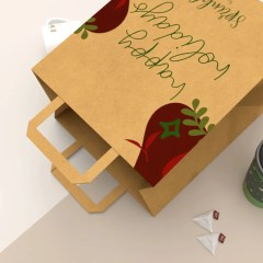 close up of 120g Kraft paper with flat paper handle add-on option