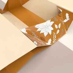 a look at the box when it is in the process of collapsing. This rigid box is made with thick greyboard material with a seasonal design on the sides