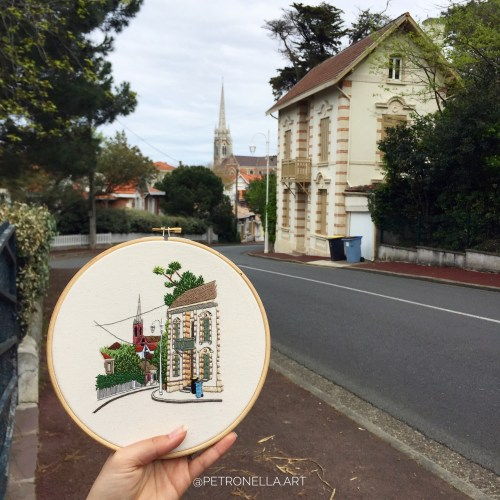 Streets of Arcachon, Embroidery by Elin