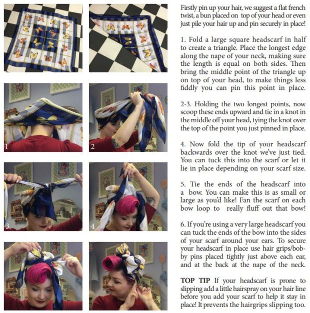 how to tie a headscarf for vintage styling le keux tutorial
