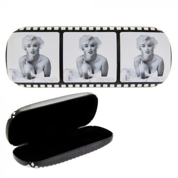 Three pictures of Marilyn Monroe, Printed in the style of a film reel, in black and white on a glasses case