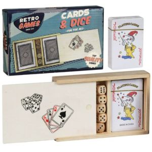 A picture of the wooden sliding box lid with the cards visible
