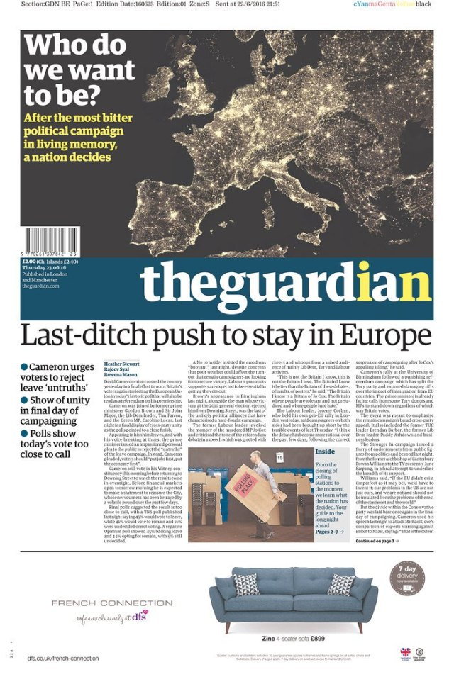 Edition du Guardian - Mercredi 23 juin 2016