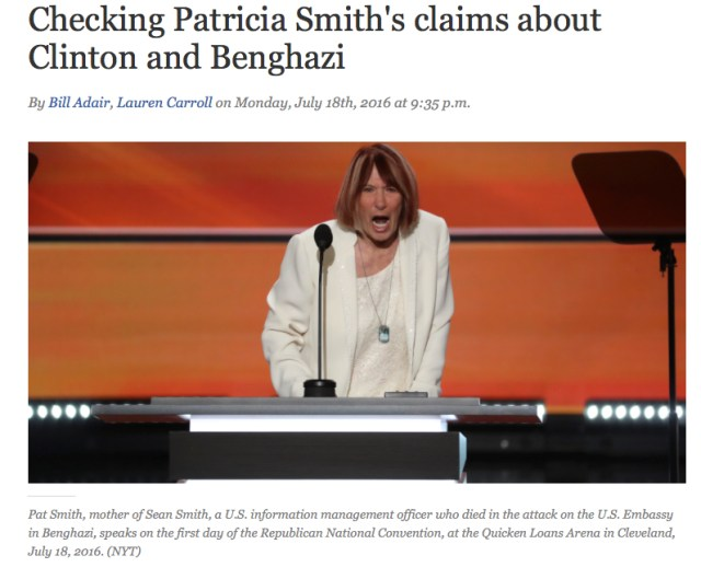 Capture d'écran du Site Politifact réprésentant Pat Smith - La mère d'un américain tué lors de l'attaque de Benghazi en Libye en Septembre 2011, lors de la Conférence du parti Républicain, le 18 juillet 2016