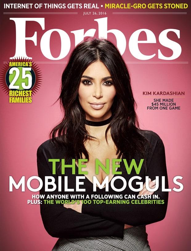 Kim Kardashian en couverture de Forbes - Edition du mois d'Août 2016