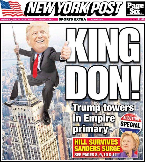 Couverture du New York Post du mercredi 20 Avril 2016, lendemain de la victoire de Trump et Clinton dans les primaires républicaines et démocrates de l'état de New York