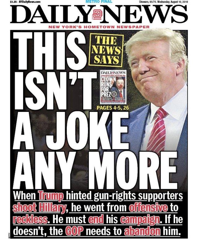 """Couverture du New York Daily News du mercredi 10 Août: """"Ce n'est plus une blague"""""""