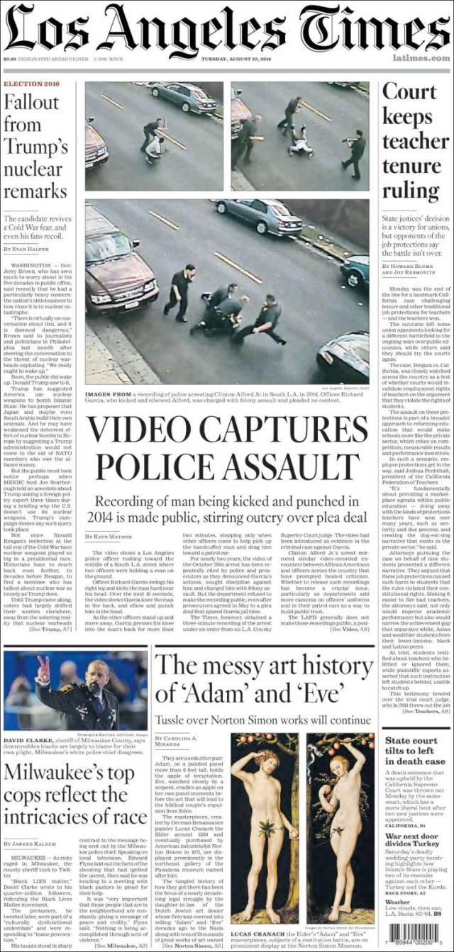 Couverture du Los Angeles Times du 23 Août 2016
