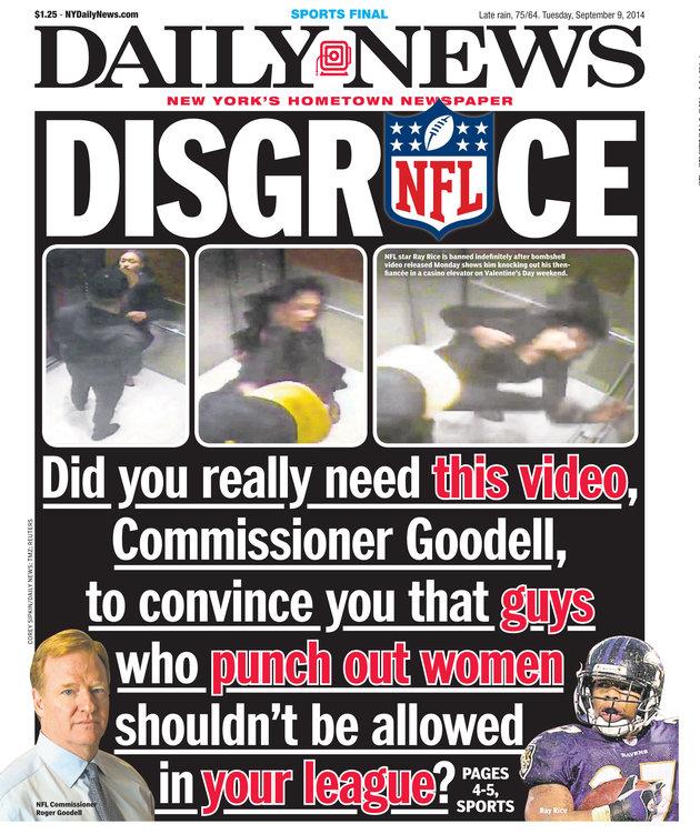 Couverture du Daily News du 9 Septembre 2014: Le scandale de Ray Rice, enregistré dans un ascenseur en train de frapper sa femme, et couvert par la NFL jusqu'à la diffusion de la vidéo par TMZ en 2014/15.