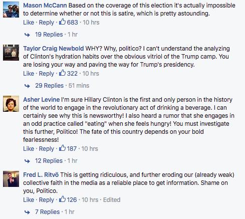 Les commentaires d'internautes sur l'article de Politico mardi 13 Septembre 2016