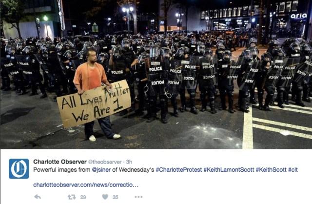 Capture d'écran du compte Twitter du Charlotte Observer
