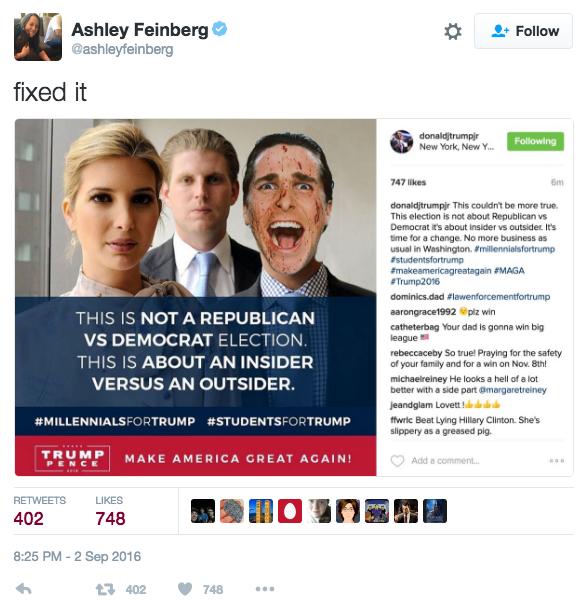 Eric Trump est ici remplacé par le personnage de Patrick Bateman (Christian Bale) du film American Psycho (2000) - Twitter/ashleyfeinberg
