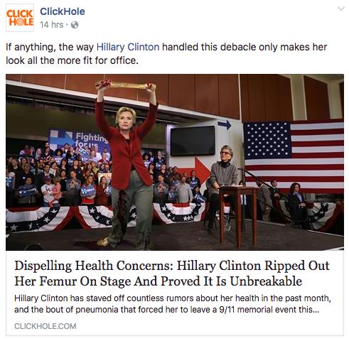 Post de ClickHole sur le fémur d'Hillary Clinton le mardi 13 Septembre 2016