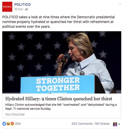 """L'article de Politico sur Facebook mardi 13 Septembre 2016: """"Les neufs fois où Hillary a bu un verre d'eau"""""""