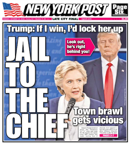 New York Post - Edition du 10 octobre 2016