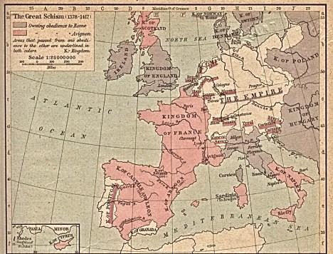 Carte du Grand schisme