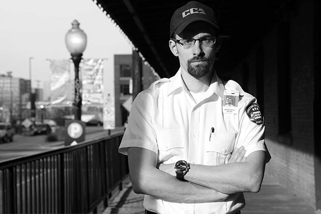 Mother Jones Senior Reporter Shane Bauer (pictured above in his prison uniform) has previously reported on solitary confinement, police militarization, and the Middle East. He is the co-author, with Sarah Shourd and Joshua Fattal, of A Sliver of Light, an account of his two years as a prisoner in Iran. James West