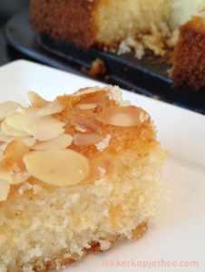 Marokkaanse griesmeel cake - stukje