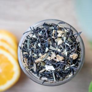 Warme glimlach - Zwarte thee met sinaasappel en gember