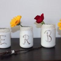 Herbstliche Shabby chic Windlichter - Vasen DIY aus Marmeladengläsern