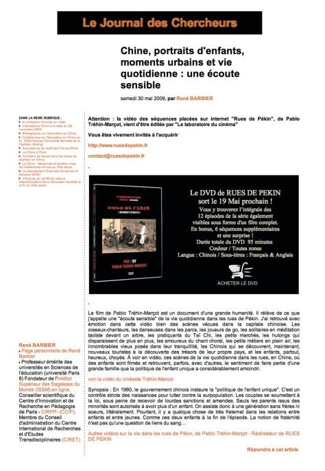 journal des chercheurs - 30 mai 2009