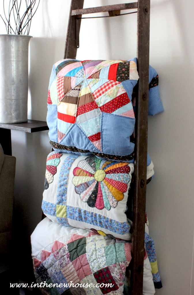Remember this blanket ladder from the DIY Upcycle post? It now holds family heirloom quilts made by our grandmothers and great grandmothers. We are so happy to have them on display.