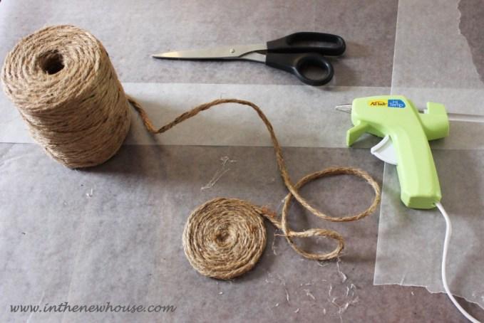 Hot Glue Jute String into round shape