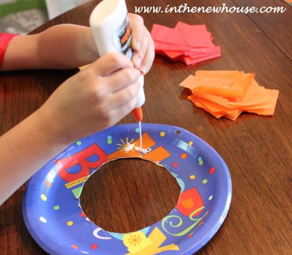 Birthday Plate glue on tissue paper