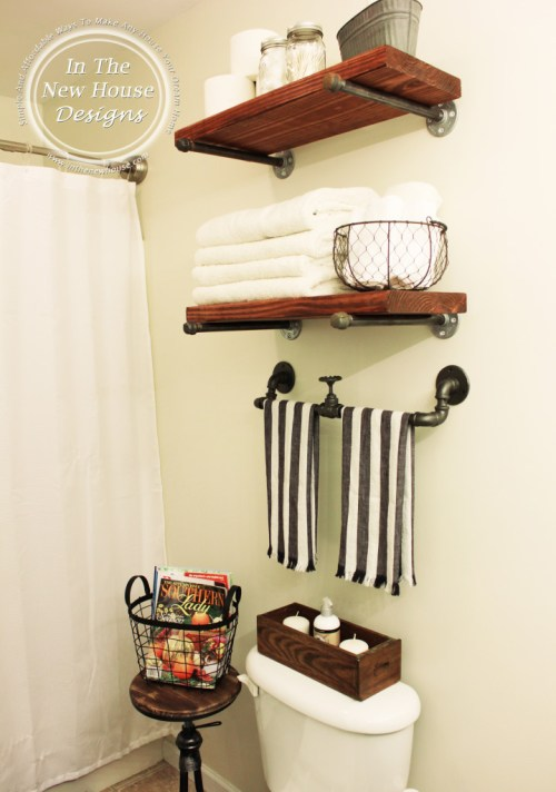 Industrial Farmhouse Bathroom Shelving Wall