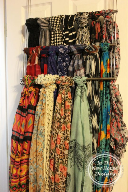 Scarves on towel hanger