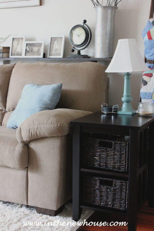 Storage Baskets in Living Room for remotes