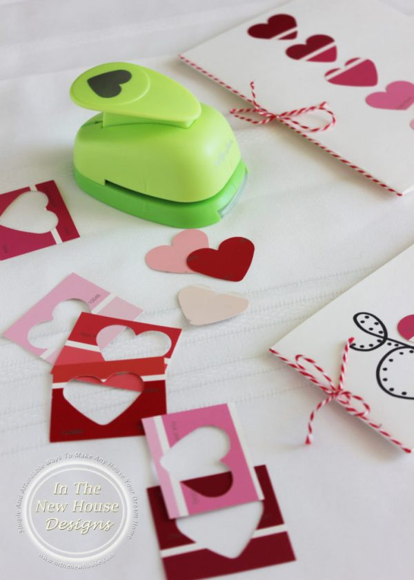 Use a heart shaped punch to make Valentine cards with free paint samples