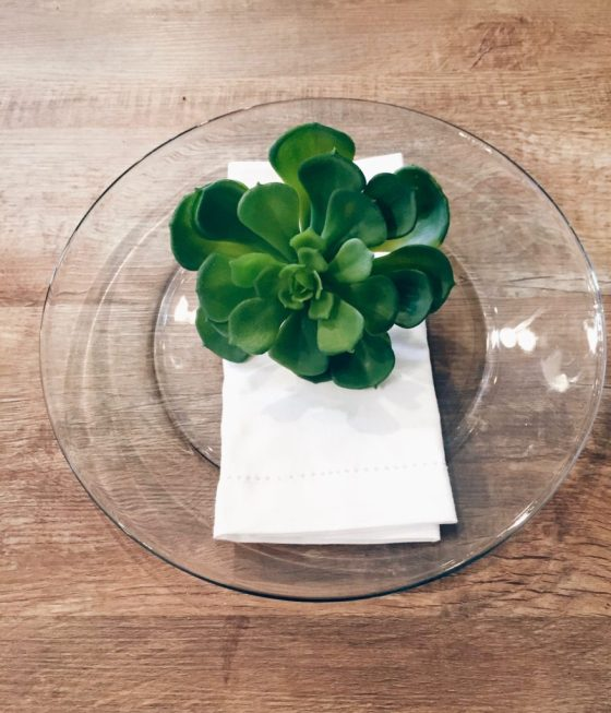 Use succulents with your dinner table decor for an instant pop of green