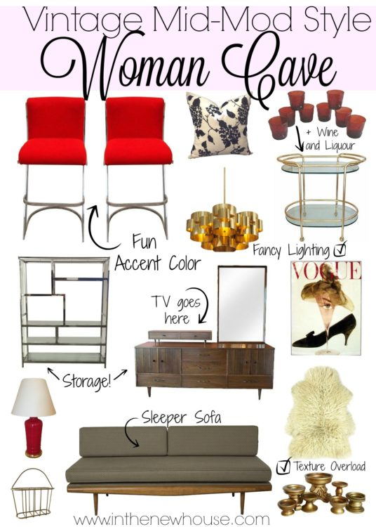 Create your own woman cave with a vintage mid mod style