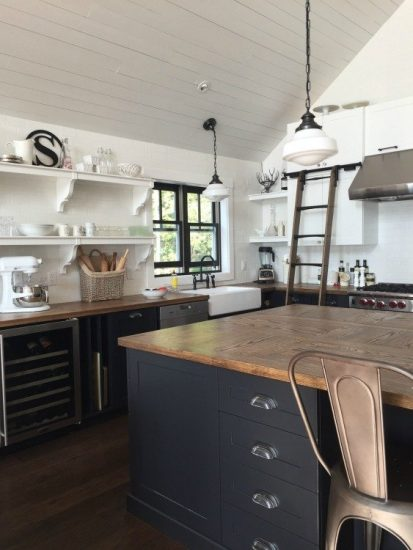 Farmhouse Cottage Kitchen With White Shiplap, Open Shelving, and Wood Countertops