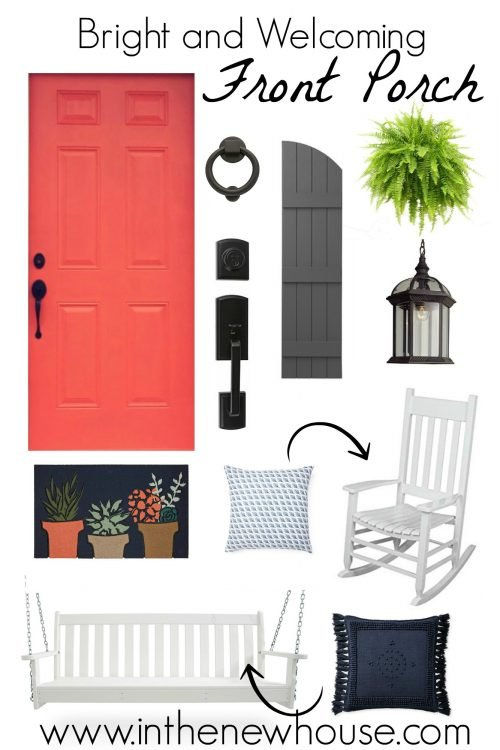 Bright and welcoming southern front porch mood board with coral, gray, navy, and white accents