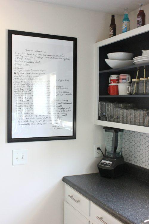 Handwritten recipe framed in kitchen