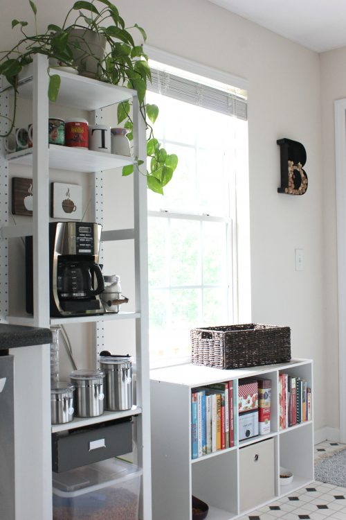 open shelving coffee bar and pet food station