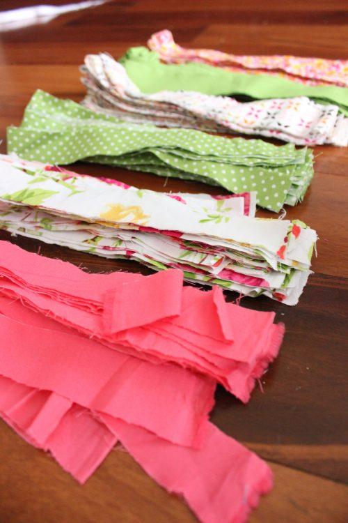 cut fabric into folded strips