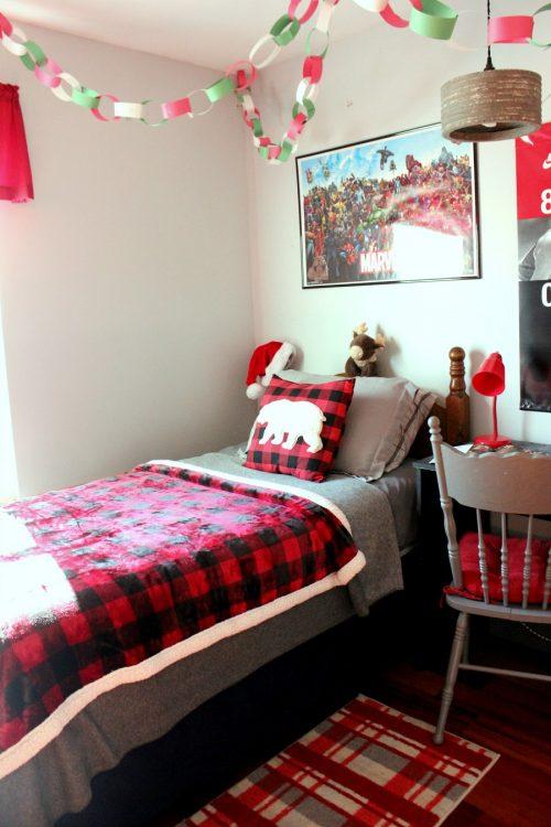buffalo plaid kids bedroom christmas decor