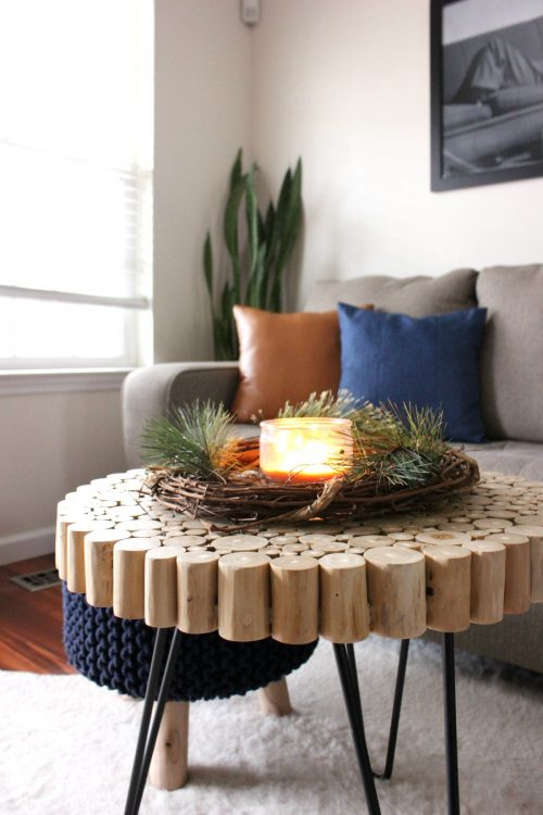 grapevine wreath with candle for coffee table