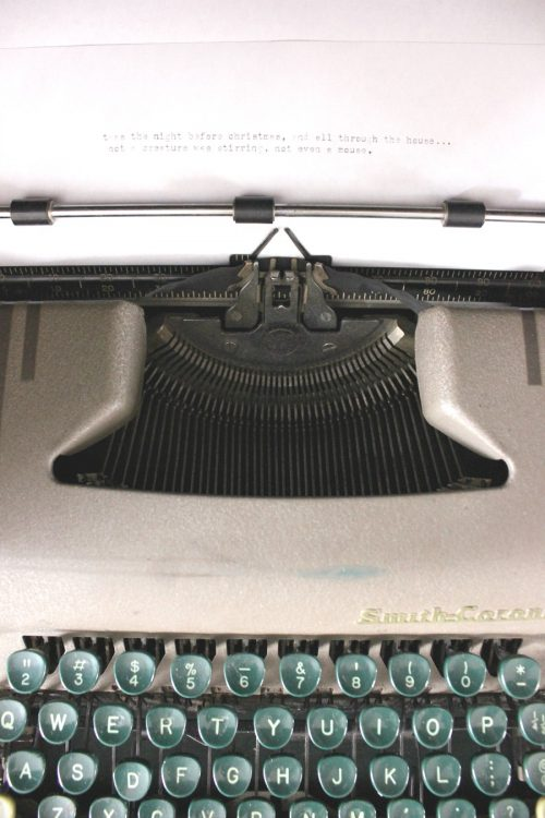 vintage typewriter with Twas The Night Before Christmas