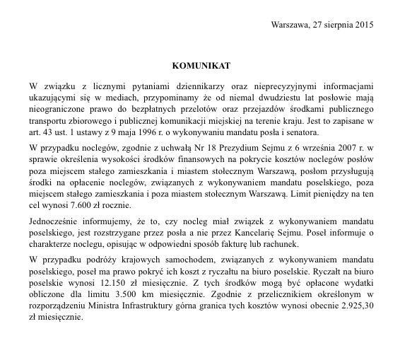 Komunikat Kancelarii Sejmu