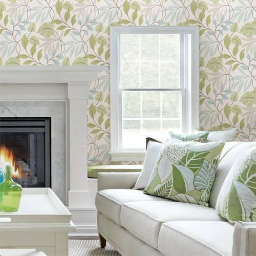 Simple space 2 eden modern leaf wallpaper roomset